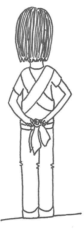 Now you can tie off with a simply double knot as shown.